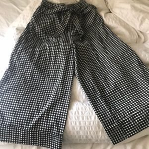 Zara checkered wide leg cropped  pant